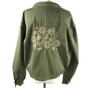 Ella Moss M Green Embroidered Xander Jacket NWT